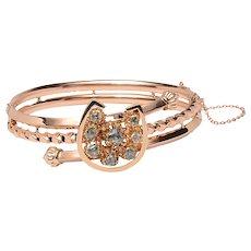 Victorian Rose Gold and Rose cut Diamond Horseshoe Bangle Bracelet
