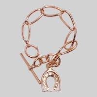Antique 9KT Rose Gold Oval Link Bracelet with Horseshoe