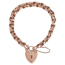 Vintage English 9KT Rose Gold Heart Padlock Bracelet