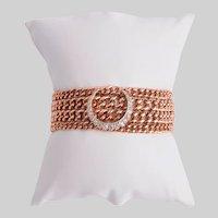 Antique 9KT Rose Gold Link Bracelet with Diamond Crescent Motif