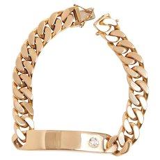 Vintage 18KT and Diamond ID Link Bracelet