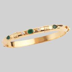 Vintage 18 KT Emerald and Diamond Bangle