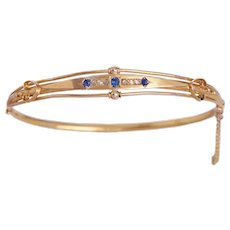 Antique 15 KT Sapphire and Diamond Bangle Bracelet