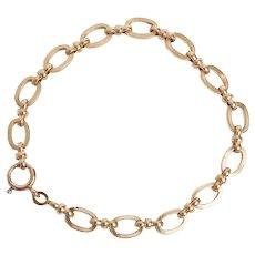 Mid Century Oval Link 14 KT Gold Bracelet