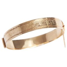 Antique 14 KT Gold Engraved Bangle Bracelet