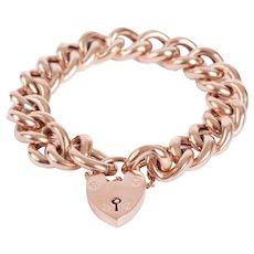 English Antique Rose Gold Padlock and Link Bracelet