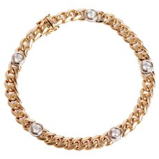 14 KT Vintage Flat Curb Link and Diamond Bracelet