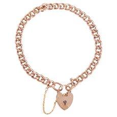 Antique English 9 KT Rose Gold Curb Link Bracelet with Padlock Closure