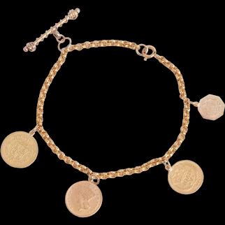 Antique 22KT and 14KT Gold Coins on a Fancy Link Bracelet