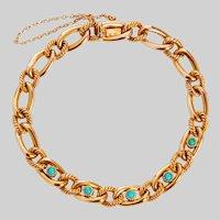Vintage French 18KT and Turquoise Link Bracelet