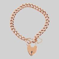 Antique 9KT Rose Gold Heart Padlock Bracelet