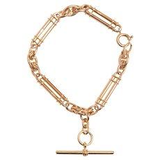Antique 18KT Trombone Link and T Bar Bracelet