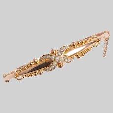 Antique 9KT Rose Gold and Pearl X Motif Bracelet