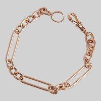 Antique 18KT Rose Gold Paper Clip Link Bracelet