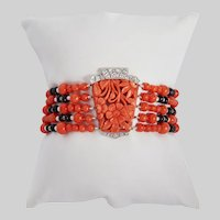 Antique Coral Diamond Pearl and Onyx Custom Made Bracelet