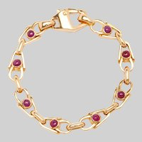 Vintage 19KT Gold and Cabochon Ruby Fancy Link Bracelet