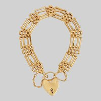 Vintage English Gate Bracelet with Heart Padlock Closure