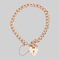 Vintage English Heart Padlock Bracelet
