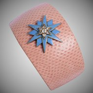 Pink Lizard Skin Cuff with a Victorian 15 KT. Yellow Gold and Enamel Rose Cut Diamond Star