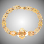 14 KT. Yellow Gold Fancy Link & Citrine Bracelet