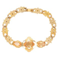 14 KT. Yellow Gold Fancy Link & Citrine Bracelet