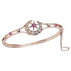 Crescent & Star Bangle Bracelet