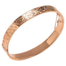 Antique 9 KT. Rose Gold Engraved Bangle Bracelet