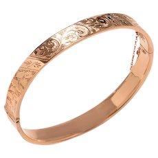 Antique 9 KT. Rose Gold Engraved Bangle Bracelet