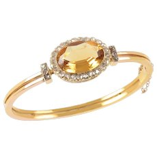 Edwardian Oval Citrine and Rose Cut Diamond Bangle set in 15 KT. Yellow Gold