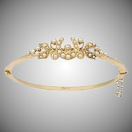 Victorian 15 KT. Yellow Gold & Pearl Horseshoe and Floral Bangle Bracelet