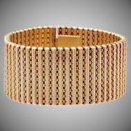 14 KT. Yellow Gold Flexible Mesh Cuff Bracelet