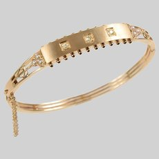 Antique 14 KT Gold Plaque Bangle Bracelet