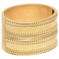Etruscan Revival Wide 14 KT Gold Cuff