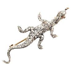 Victorian Diamond Lizard Brooch / Pendant
