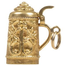 18 KT Yellow Gold Beer Stein Pendant / Charm