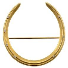 14 KT. Matte Gold Victorian Horseshoe Brooch