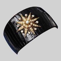 Black Lizard Cuff Bracelet with a Victorian Diamond and Split Pearl Star