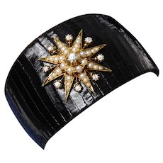 Black Lizard Cuff Bracelet with a Victorian Diamond and Split Pearl Star