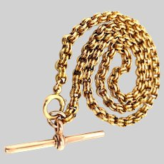 Antique 9 KT English Fancy Link Chain with T-Bar End Necklace