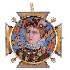 Nautical Button Chain with Enamel and Diamond Portrait Pendant