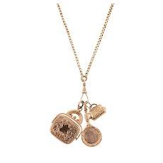 9 KT Rose Gold Triple Charm Necklace