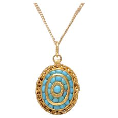 Antique Large Oval 14 KT. Yellow Gold & Turquoise Necklace