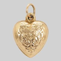 Antique Engraved Heart Pendant