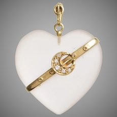 Frosted Rock Crystal Diamond and 14 KT Gold Heart Pendant