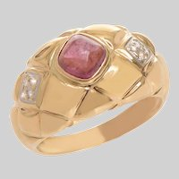 1970's Pillowed Bombe Cabochon Tourmaline and Diamond Ring in 14 KT Gold