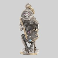14 KT. Gold and Sterling Silver Monkey on a Chair Pendant / Charm with a Rose Cut  Diamond, Rubies, Sapphire,  Pearl and Turquoise