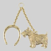 Scottie Dog Pendant and Horseshoe Pendant 14 KT. Gold