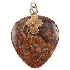 Agate and 18 KT Rose Gold Heart Pendant