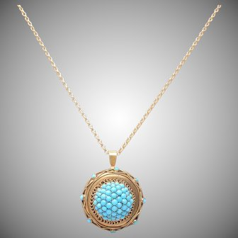 Antique  English 9 KT. Gold & Turquoise Pendant