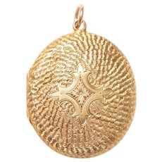 Engraved Antique 9 KT. Yellow Gold English Locket